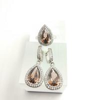 african coffee - Water Drop coffee Sterling Silver Women Jewelry Sets AAA Zircon Earrings Rings Size Free Gift Box