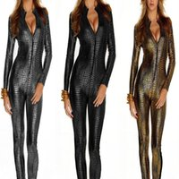 TV & Movie Costumes Women Witches & Gothic Beauties DS Club Wear Female Pole Dance Outfit Siamese Leather Snakeskin Tight Zipper Uniform Conjoined Temptation Outfit