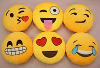 Wholesale Cushion adorable Emoji smiley pillows kawaii QQ facial expression sofa cushions pillow creative yellow round stuffed plush toy gift for kids