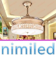 Wholesale nimi895 quot Invisible Crystal Ceiling Fan Lights Living Room Chandelier Bedroom LampLED Restaurant Pendant Lighting With Remote Control
