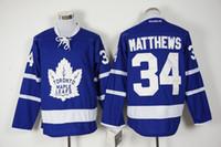 Wholesale 34 Matthews New Hot Men Toronto maple leafs Blue New Ice Hockey Jerseys NHL Stitched Jerseys Free Drop Shipping lymmia Mix Order