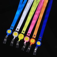 badge holder with retractable cord - High Quality Retractable Lanyard Reel Nylon Cord With Smiling Face For Badge Holder Office Business Exhibition Supplies