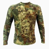 Wholesale Men Tight military army jungle snake camouflage T shirt sports Slim Long Sleeved Shirt for army fan