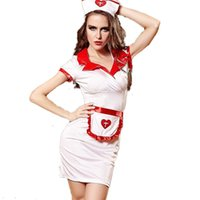 apron gift set - Women Sexy Nurse Uniform Cosplay Costume Fancy Dress Bodycon Sexy Nurse Lingerie Set hat apron dress M L gift packing