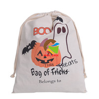 Wholesale Halloween candy bag gift sacks CM Large Canvas bags cotton Drawstring bag Pumpkin devil spider printing Hallowmas Gifts Sack Bags