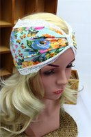Wholesale 15 Colors Women Fashion Yoga Lace Headband Stretch Twist Turban Sport Headbands Headwrap Fitness Wide Colorful Bohemia Headbands