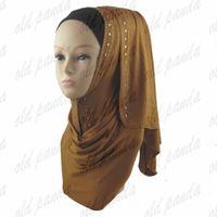active express - Fashion Muslim Hijabs Sequin Cotton Jersey Elegant Rhinestones Islamic Glitter Shawl Wrap Pure Color Fast Express