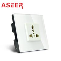 Wholesale Aseer Brand Dropshipping UK Standard universal Waterproof Wall Socket AC110 V A High Quality White Glass Panel Wall Outlet