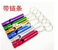 Wholesale High quality Outdoor Aluminium Survival Emergency Whistle Multicolor Hiking Camping Whistle Key Chain