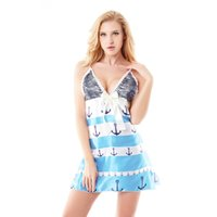 Wholesale Sexy Babydolls Plus Size - Wholesale-Ladies Nightgown Sleepwear Women Bowknot V-Neck Lace Print Babydolls Chemise Famale Nightwear Sleepshirts Plus Size M-4XL