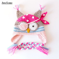 Cheap Unisex handmade baby Pirate Owl Hat Best Spring / Autumn Crochet Hats crochet baby novelty animal Hat