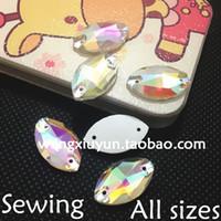 Wholesale 5x10mm x12mm x15mm x18mm x22mm x31mm Navette Flatback Sew on Rhinestone Crystal AB Horse Eye Sewing Crystal