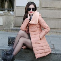 Wholesale Winter Jacket Women New Winter Womens Down Jacket Hood Fur Coats Zipper Casual Long Coat Warm Women Parkas Black Pink