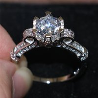 american levels - Fashion Women Gift Solid Sterling Silver Jewelry Brand Engagement Wedding Rings Flower Crown Design CT AAA CZ Level Gemstone Rings
