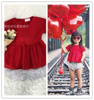 Wholesale 2016 summer Red solid color skirt Super cute kids children baby girls skirts dress and Shorts pants trousers clothes collocation wave point