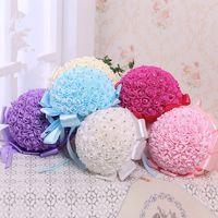 Actual Images door beads - New Bridal Wedding Bouquet Wedding Decoration Artificial Bridesmaid Fuchsia Pink Flower Beads Crystal Silk Rose cm