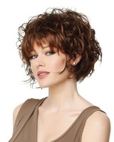 Wholesale 2016 New Stylish Fleeciness Women Short Curly Hair Party Wig Brown Short Curly Hair Texture Messy Ladies Wig Sexy Short Kinky Curly Wig