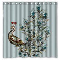 Wholesale Fantasy Peacock Design Shower Curtain Size x cm Custom Waterproof Polyester Fabric Bath Shower Curtains
