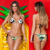 bathing monkeys - New Design Bikini Women Beach Swimwear Monkey Style Bandeau Hipster Swimsuits Push up Halter Bathing Suit Set Bandage Biquini Triangular