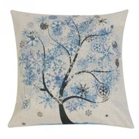 Wholesale Four Seasons Flower Trees Pattern Pillow Case Bedroom Square