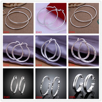 Wholesale 10 pairs mixed style women s silver earring GTE58 high grade fashion Hoop Huggie sterling silver earrings