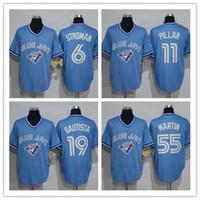 baby blue jays - 2016 Mens Retro Toronto Blue Jays Jose Bautista Marcus Stroman Kevin Pillar Russell Martin Baby Blue Throwback Baseball Jerseys