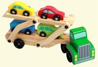 Wholesale Wooden Train Car Toys Double Deck vehicle Cars for Kids Wooden Car truck Children Educational Toys