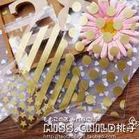 Wholesale 100pcs Gold Stripe Dots And Stars DIY OPP Makeup Gift Packing Bag Event Cookie and Candy Packaging Bags B153