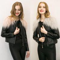 al por mayor pu de la cremallera de la chaqueta de cuero de las mujeres-2017 se venden como pan caliente otoño PU Chaqueta de piel de la chaqueta de las mujeres / collar más el tamaño de abrigos de invierno de la cremallera corta Slim Fit Con la piel de imitación 3XL