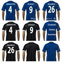 Cheap Leicester City Jersey Soccer 4 DRINKWATER 9 VARDY 26 MAHREZ Football Shirt Uniform Kits Foot Tshirt Team Color BLue Black Thai Quality