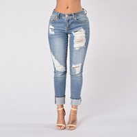 Wholesale Middle Waist Jeans Blue Skinny Jeans Frayed Jeans Womens Bleach Ripped Skinny pants Denim pants For Female Women