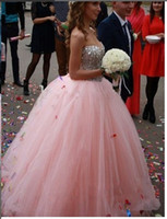 Ball Gown Reference Images 2016 Spring Summer Best selling elegant off the shoulder Pink wedding dresses Floor Length Tulle Ball Gown Sweetheart Crystal Beaded bridal dresses