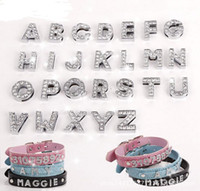 Wholesale Nice Letters DIY slide Letters with rhinestone for mm pet dog collars letters and numbers