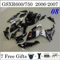 Wholesale West Motorcyce Fairing Kit Fit Suzuki GSXR600 GSXR750 GSXR Black White Painting Custom Cowling Set ABS Plastic Body