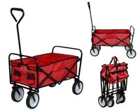 Cheap Folding Utility Wagon Collapsible Garden Cart Shopping Beach Toy Sports Cart Red