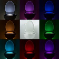 Wholesale 2016 Newly LED Human Motion sensor toilet night light Colors Changing Toilet Bathroom human body auto sensing night light resale package