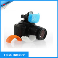 pop up flash diffuser - New Puffer Pop Up Flash Soft Diffuser Cover Dome for Speedlite Canon Nikon Pentax Camera DSLR White Yellow Blue Color D1310