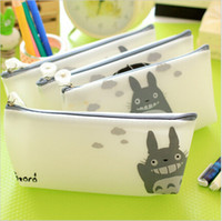 Wholesale-12pcs / lot de la jalea historieta de Japón A-Cat suministros bolsa de lápiz / bolsa del lápiz / sostenedor de la pluma / de los efectos de Corea / Escuela papelaria WJ0009