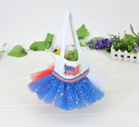 Wholesale 2016 new arrival USA Flag gift bag tutu bag gift holders for birthday party decoration