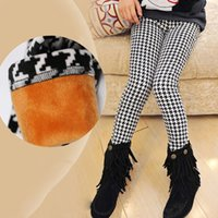 Wholesale 2016 autumn winter new arrival children Leggings Houndstooth baby girl skinny pants elastic waist thick year old
