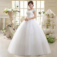Precio de Líneas blancas-Alimida 2016 nuevo vestido de boda blanco de la manga corta de los O-Cuello de los vestidos de boda del A-Línea ata para arriba el vestido nupcial Vestidos De Novia