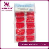 Wholesale Hot Chinese Red Heart Pattern Pre Design French Airbrush Nail Art Tips False Nail Tips Designer Acrylic Nails Fake Tips