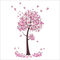 Wholesale Creative Pink Tree Pink Butterfly Wall Stickers Novelty Wall Decals Bedroom Living Room Home Decorations WS505