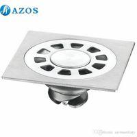 Wholesale AZOS Stainless Steel Chrome Toilet Floor Drain Strainer Grates Waste Bathroom Shower Part Ground Overflow Fitting PJDL012