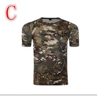 Wholesale 2016 Hunting Camo Layer Men s Breathable Short sleeved T shirt Army Tactical Camouflage Combat T Shirt Quick Dry Sweatshirt