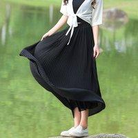 Livraison gratuite Printemps et été Femmes Mousseline 98CM plissé Bohème Casual mode Maxi jupe noir blanc gris vert jupe longue
