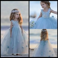 beach ball pictures for kids - Formal Light Blue Flower Girl Dresses For Beach Couontry Weddings Appliques Floor Length Lace Ball Gown Communion Kids Pageant Gowns
