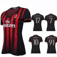 Wholesale New Product Women Soccer Jersey AC Milan Mnez L ADRIANO HONDA PAZZINI POLI Black Red Home Soccer Jerseys Season Woman Shirts