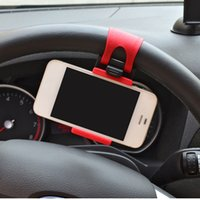 Wholesale Car Styling Car Steering Wheel Mount Holder Rubber Band For iPhone S iPod MP4 GPS Mobile Phone Holders Car Accessories