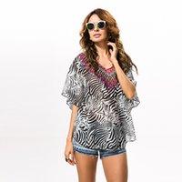 Wholesale 2016 new explosion models sexy leopard bat sleeve chiffon blouse fashion blouse outside beach